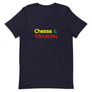 Black Cheese and Tomatoes Pizza T-Shirt Unisex